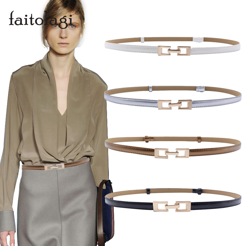 Black Belt For Women Thin Adjustable Leather Female Belts Elastic Alloy Buckle Dress Waist Belts Ceinture Femme Pasek Damski