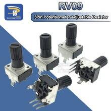 Eixo vertical 12.5mm rv09, eixo 1k 2k 5k 10k 20k 50k 100 com 10 peças k 1m 0932 resistor ajustável, 9 tipos 3 pinos selo potenciômetro rotativo