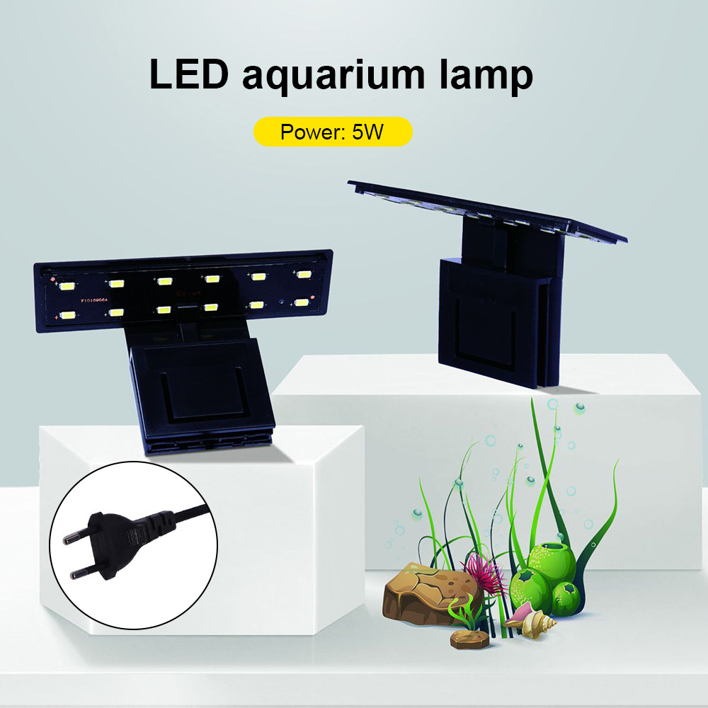 Aquarium Fish Tank High Brightness LED Aquarium Fish Tank Light Clamp Clip Flexible White & Blue Lighting Lamp Decor EU Plug