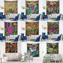 Tarot Card tapiz Vintage antiguo, astrología, brujería, estrella, Luna, diosa, mar, ninfa, sirena, cama, decoración, manta, tela de pared