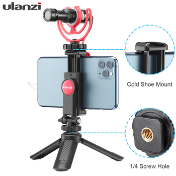 Ulanzi ST-06 Adjustable Phone Holder with 1/4 Screw Hot Shoe Mount Quick Release Vlog Video Shooting For DSLR Camera Smart Phone