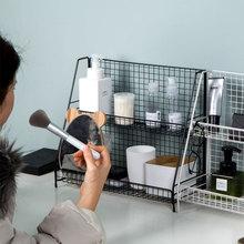 Железный художественный товарный стеллаж для хранения косметики INS кухонная полка стол на двухслойной спальне полезный продукт для настольного хранения