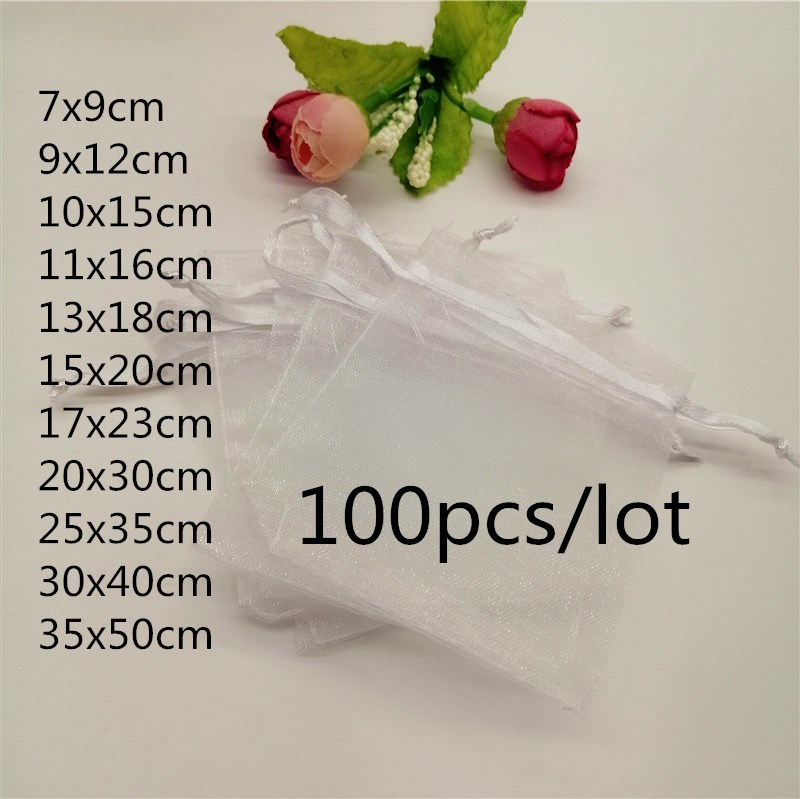 100pcs Organza Bags White Jewellery Bag Organza Jewelry Bag Drawstring Jewelry Packaging Bags 7x9 10x15 20x30cm Jewelry Pouches