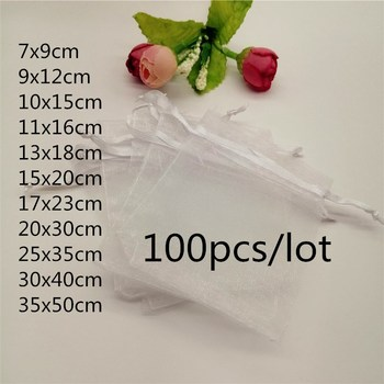 100pcs lot 7x9 10x12 11x16 13x18 15x20 17x23 20x30cm organza gifts bags small jewelry pouches candy coffee beans packaging bag 100pcs Organza Bags White Jewellery Bag Organza Jewelry Bag Drawstring Jewelry Packaging Bags 7x9 10x15 20x30cm Jewelry Pouches