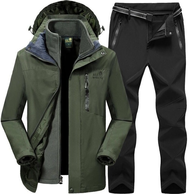 2019 Men Women Winter Autumn Detachable Hike Fish Camp Trekking Ski Climb Jackets Suit Fleece waterproof Pants Belt Trousers 1