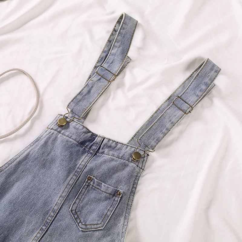 Macacão de verão das mulheres calças de brim tamanho grande 2020 solto casual denim macacões das mulheres perna larga casual denim macacão