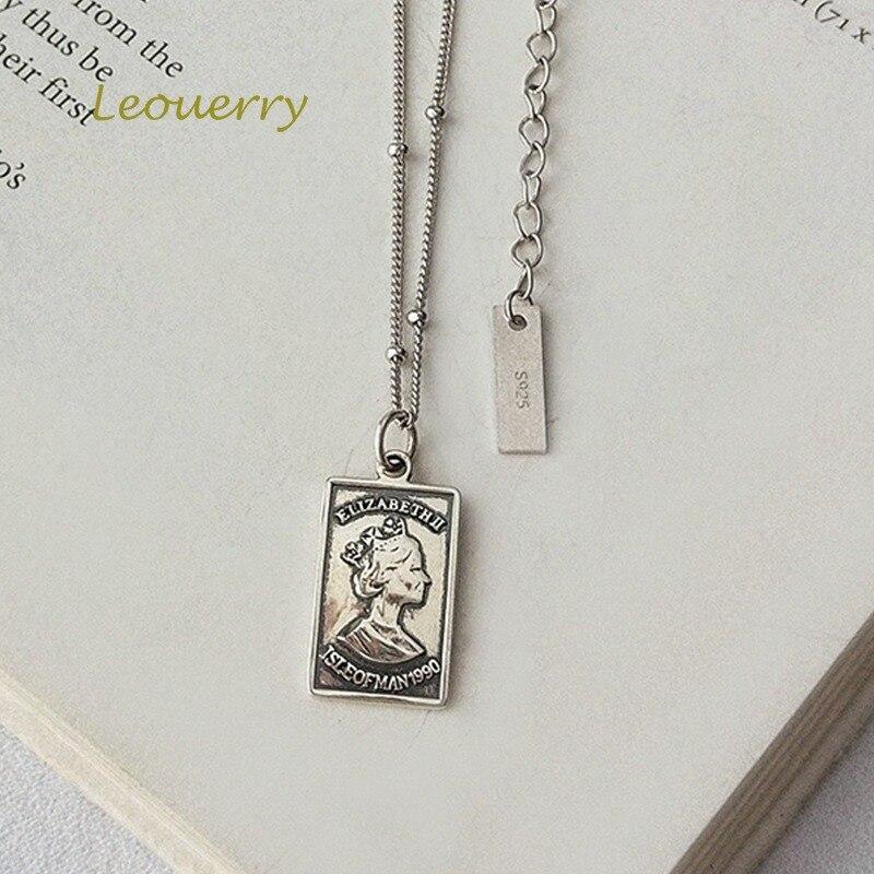 Купить leouerry 925 пробы серебро британская королева квадратная подвеска