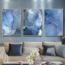 Abstract Canvas Painting Wall Art Blue Watercolor Poster Print Vogue Nordic Pictures For Living Room Decor