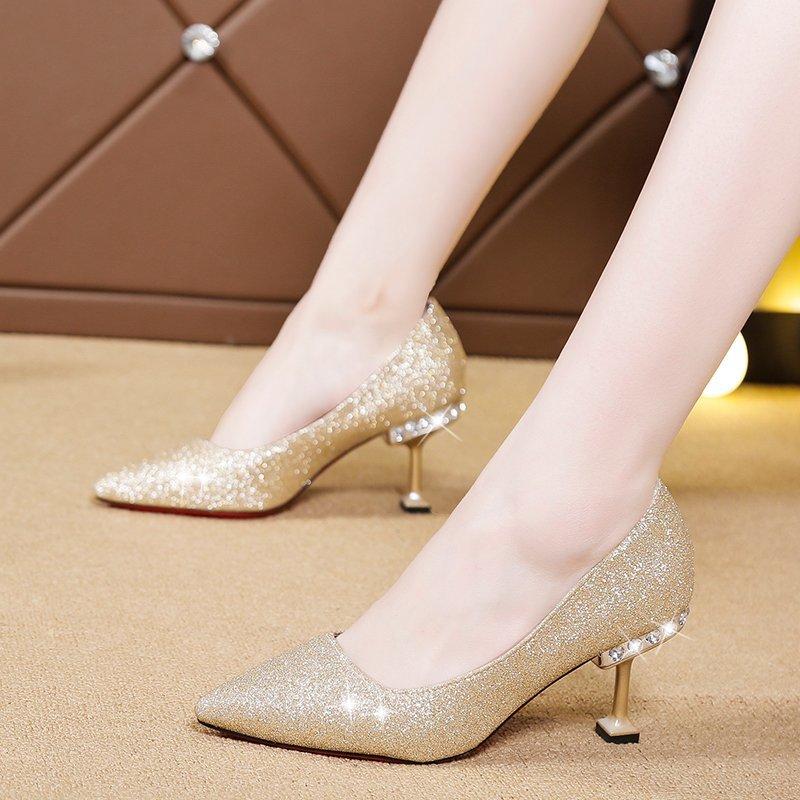 Crystal Heels Pumps Women Wedding Shoes Bridal Silver Pointed Toe Bling High Heels Ladies Sequined Cloth Boat Shoes Black 8518N 3