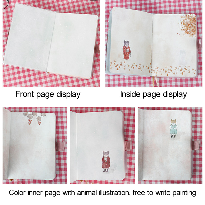 Купить с кэшбэком A5 Cute Creative Japanese Cat Notebook Leather Cover Planner Agenda 2020 Color Page  Binder Diary Gift School Supplies Filofax