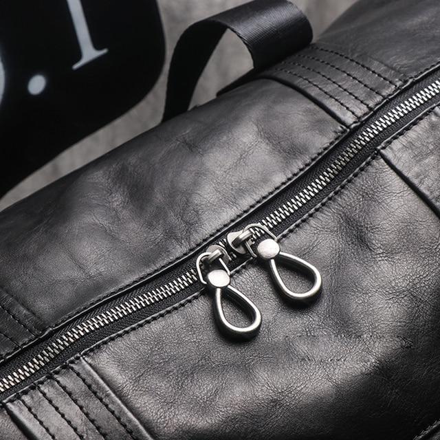 AETOO Leather handbag men's large-capacity travel bag vegetable tanned head layer cowhide shoulder diagonal bag light travel lug 6