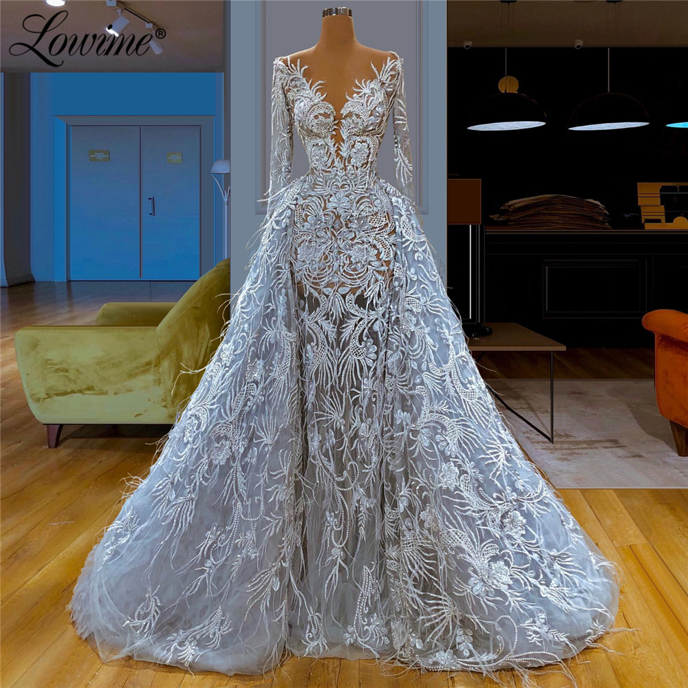 See Through Feather Evening Dress 2020 New Arrival Illusion Aibye Women Couture Dubai Prom Dresses Saudi Arabic Party Gowns