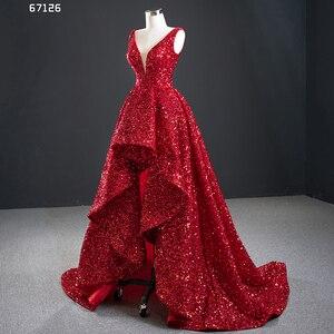 Image 4 - J67126 Jancember Váy Đầm Dạ Cổ V Cột Dây Lưng Ngắn Trước Khi Dài, Áo Ngực Cuort Tàu Gợi Cảm Vestidos Formales
