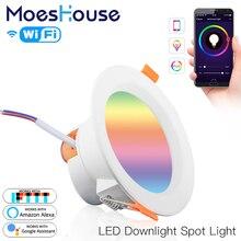 واي فاي الذكية LED النازل يعتم بقعة ضوء مستدير 7 واط RGB اللون تغيير 2700K 6500K دافئ كول ضوء العمل مع أليكسا جوجل المنزل