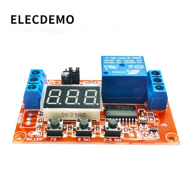 Multi function digital display adjustable power cycle high and low trigger pulse delay relay module 5V12V24V