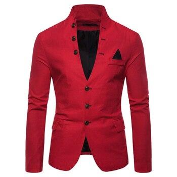 Blazer Men Autumn formal dress jacket Casual Slim Fit Stylish Suit Coat Party Wedding Terno Masculino Blazers Men
