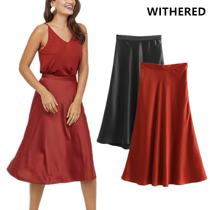 Midi Skirt Satin A-Line Urban Office Lady High-Waist Womens Moda Mujer England Solid