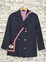 2019 Autumn Suit Stars with Vertical Stripes Suit Korean Leisure Commuter Joker Notched Striped Clothing Coat Women Jackets