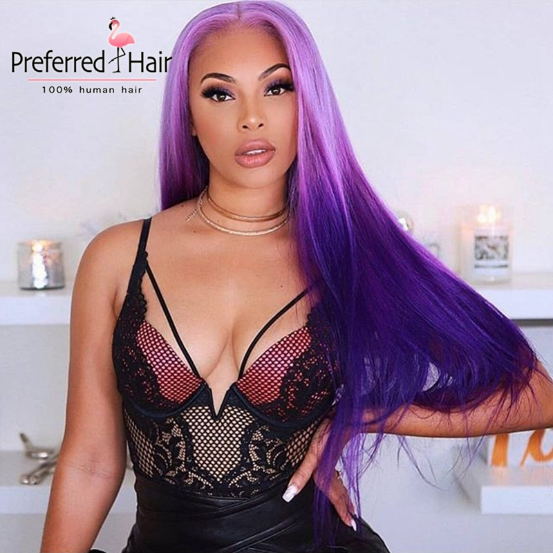 Preferred 13x4 Purple Preplucked Ombre Lace Front Wig Brazilian Straight Wig Remy Lace Front Human Hair Wigs For Black Women