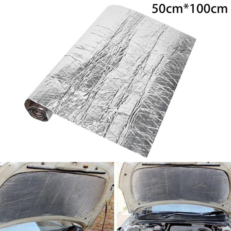 50x100cm Car Sound Deadener Mat Noise Bonnet Insulation Deadening Hood Engine Firewall Heat Aluminum Foam Sticker
