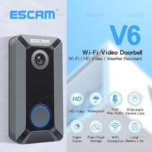 Escam v6 campainha sem fio, campainha 720p à prova d água armazenamento gratuito de vídeo, segurança para casa