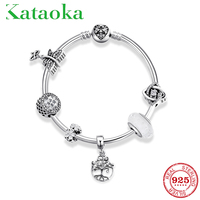 925 silver Bracelets for girls Female wedding anniversary Gift jewelry Beautiful in white Love Clear CZ Charms Glass Beads