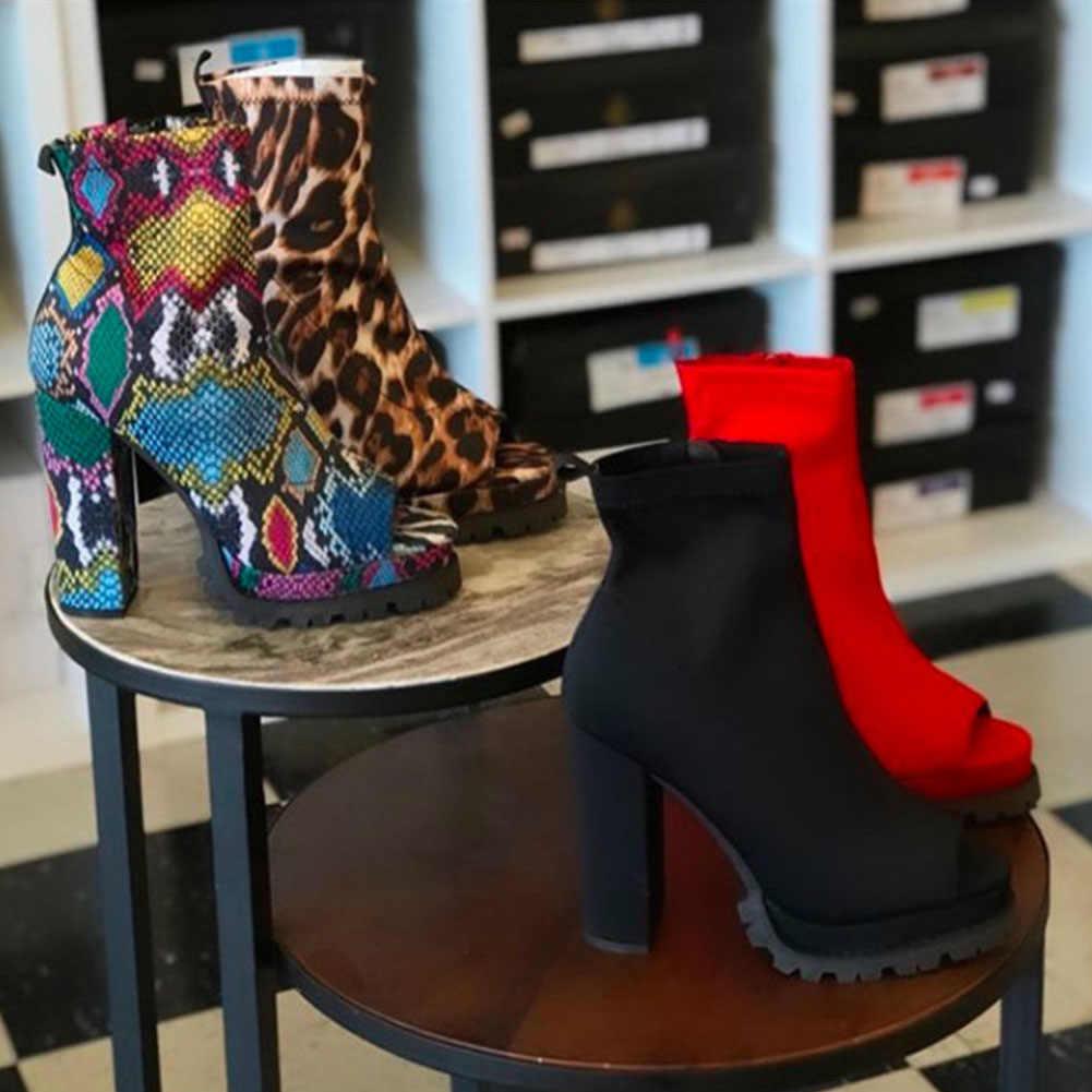 Karinluna yeni toptan marka tasarım renkli baskılı yılan leopar kırmızı siyah yüksek topuklu yaz botları kadın ayakkabı kadın