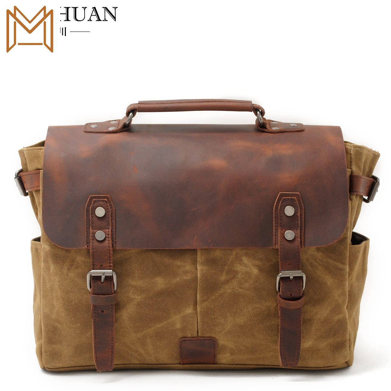 Wax Oil Canvas Crazy Horsehide Document Handbag Male Package Single Shoulder Messenger Handbag