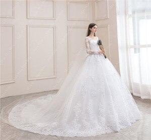 Image 3 - ウェディングドレス 2020 フルスリーブセクシーな v ネック掃引列車のボール王女の高級レース vestido デ noiva ウェディングドレスプラスサイズ