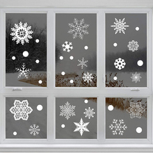 Christmas Snowflake Window Stickers Creative Non-Marking Static Stickers Snowflake Home Windows Stickers Christmas Decorations tanie tanio CN(Origin) Static Cling 489341 Opaque Glass Films Decorative Home decoration stickers white