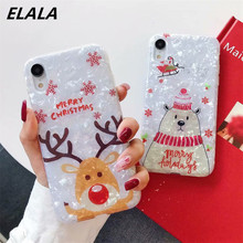 ELALA Glossy Marble Case For iPhone 11 Pro X XR XS Max 6 6S 7 8 Plus Cartoon Christmas Deer Snowman Soft Cover Ring Bracket Gift
