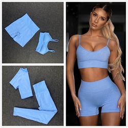 Seamless Women Yoga Set Workout Shirts Sport Pants Bra Gym Clothing Short Crop Top High Waist Running Leggings Sports Set 2005