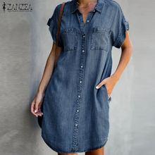 Summer Shirt Dress Robe Short-Sleeve Oversized Vestidos ZANZEA Mini Casual Women's Female