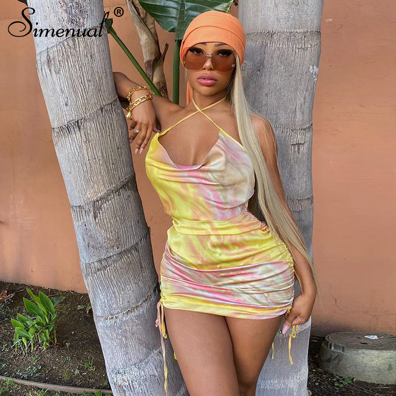 Simenual Tie Dye Drawstring Satin Dress Women Strap Backless Sleeveless Hot Sexy Party Clubwear Fashion Bodycon Mini Dresses