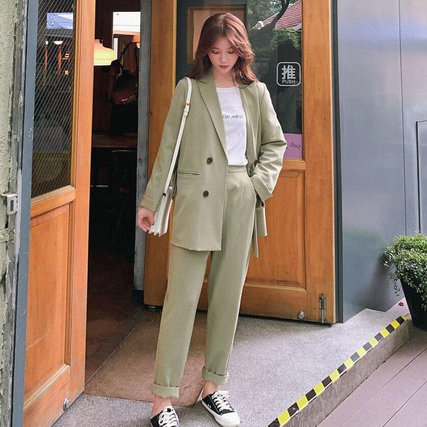 Photo Shoot Main Push INS Drape Slimming Elegant Ol Two-Piece Set Bandage Cloth Waist Hugging Small Suit High-waisted Straight-C