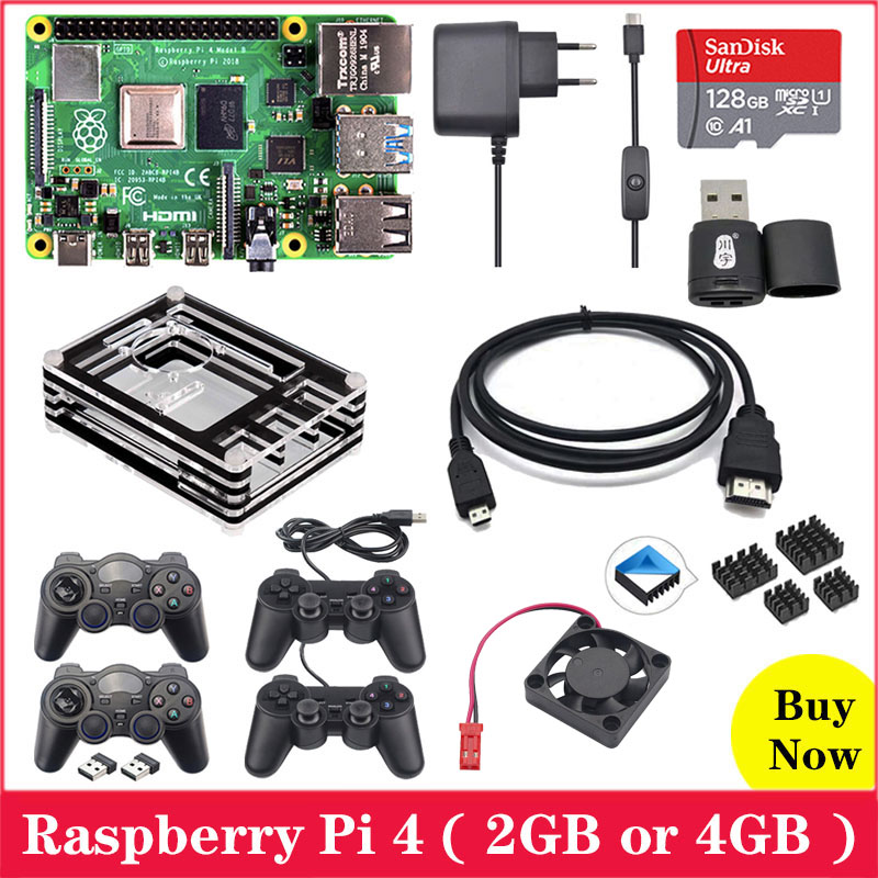 Raspberry Pi 4 Board + Gamepad Controller + Acrylic Case + Power Supply + 64GB / 128GB SD Card + Heat Sink Raspbery Pi 4 Model B