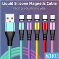 2a líquido silicone magnético cabo de dados threeinone 360-degree redondo multicolorido cego sucção android tipo c magnética sucção linha