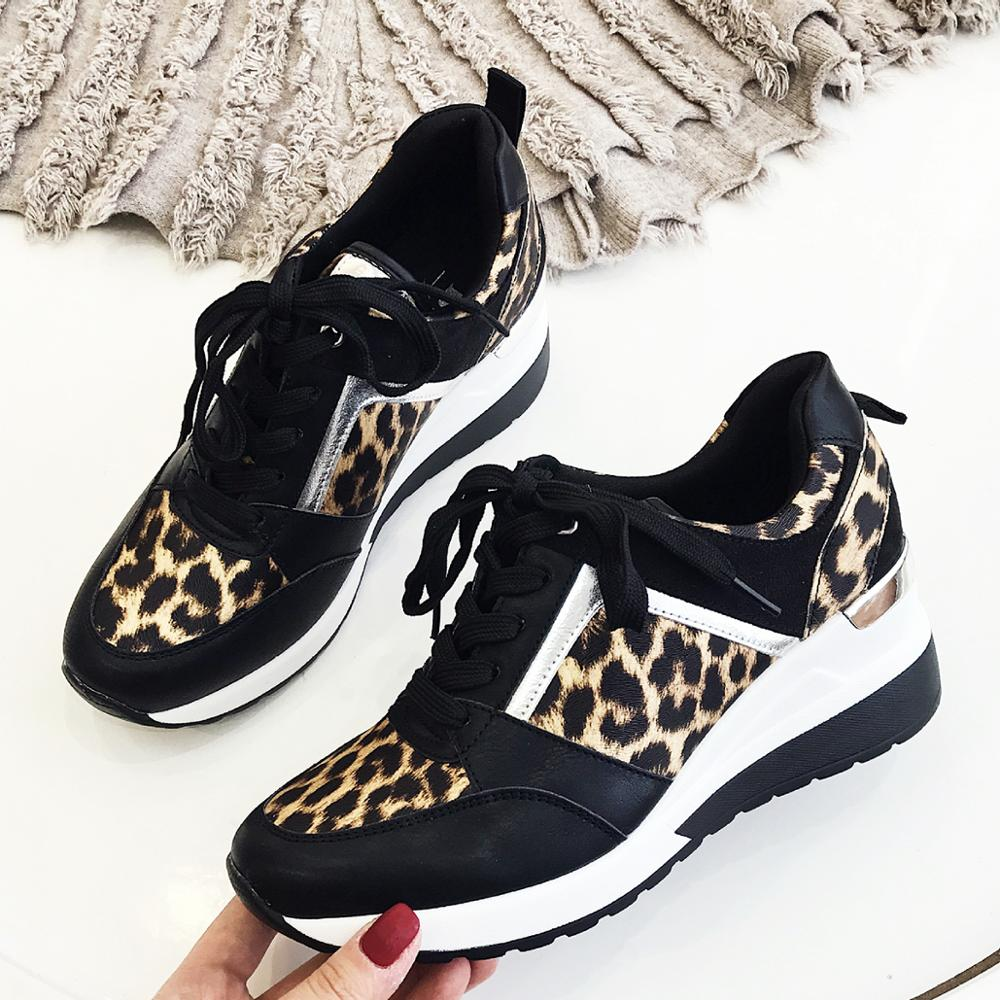2019 Leopard Sneakers Woman New Platform Shoes Women Stylish Thick Sole Sports Fashion Styles Light Weight Size 36-41