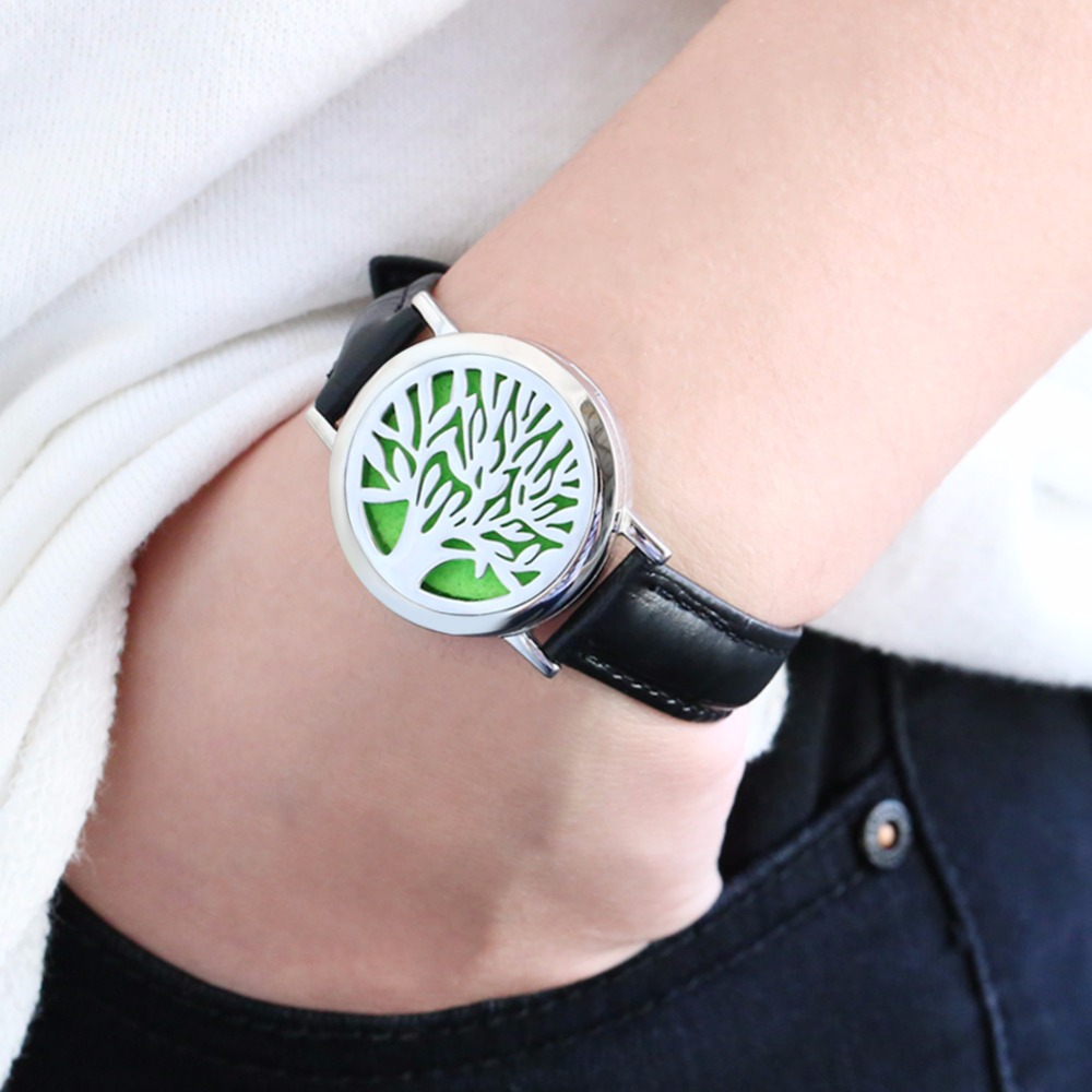 BOFEE Tree of Life Essential Oil Diffuser Leather Bracelet Silver Stainless Steel Charms Magnetic Locket Hand Chain Men Women in Wrap Bracelets from Jewelry Accessories
