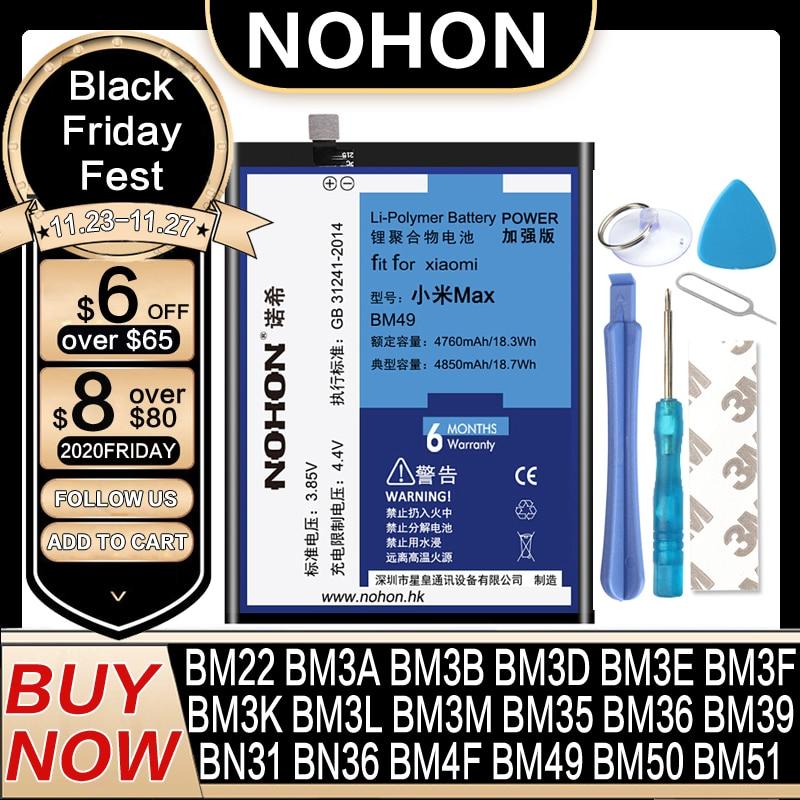 Bateria Nohon-Battery Mi-Mix BM3L BM36 BM3E BM3B BM49 BN31 Xiaomi 8-Lite BM39 BM22 BM50