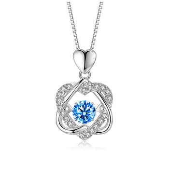 HIYONG Bexameron Heating Heart Necklace Sterling Silver Women Moving Zircon Love Heart Necklace Christmas Gift