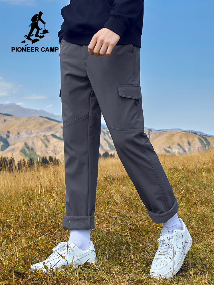 Pioneer Mens Pants For Winter Warm Fleece Causal Joggers Mens Cargo Pants With 2 Pockets Black Gray Solid Color AXX902284