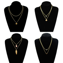 4 Pcs/ Set Fashion Sequins Pendant Chain Necklace Tassel Clavicle Leaf Heart Multilayer Jewelry