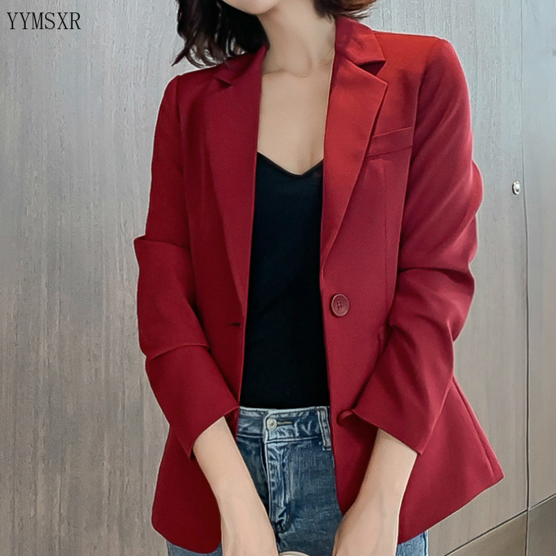 Women's small suit 2019 new fall slim solid color business lady blazer coat Casual single-breasted jacket Female