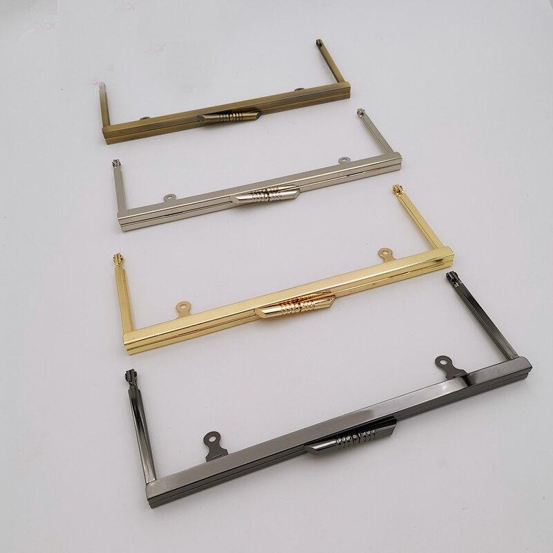 8 Inch Clutch Glue In Frame Straight Channel Smooth Silver Purse Frame