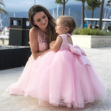 Lovely 2020 New Beaded Applique Pink Flower Girl Dresses For Wedding Party Little Girls Kids First Communion Gowns