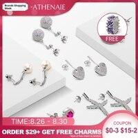 ATHENAIE 925 Sterling Silver Crystal Drop Earrings Shiny Trendy 6 Pairs Of Earrings Women's Jewelry