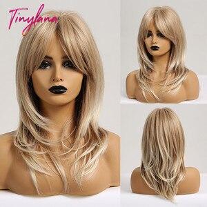 Image 5 - Küçük LANA düz sentetik peruk kadınlar için afrika amerikan orta uzunlukta gri kül peruk patlama ile ısıya dayanıklı iplik