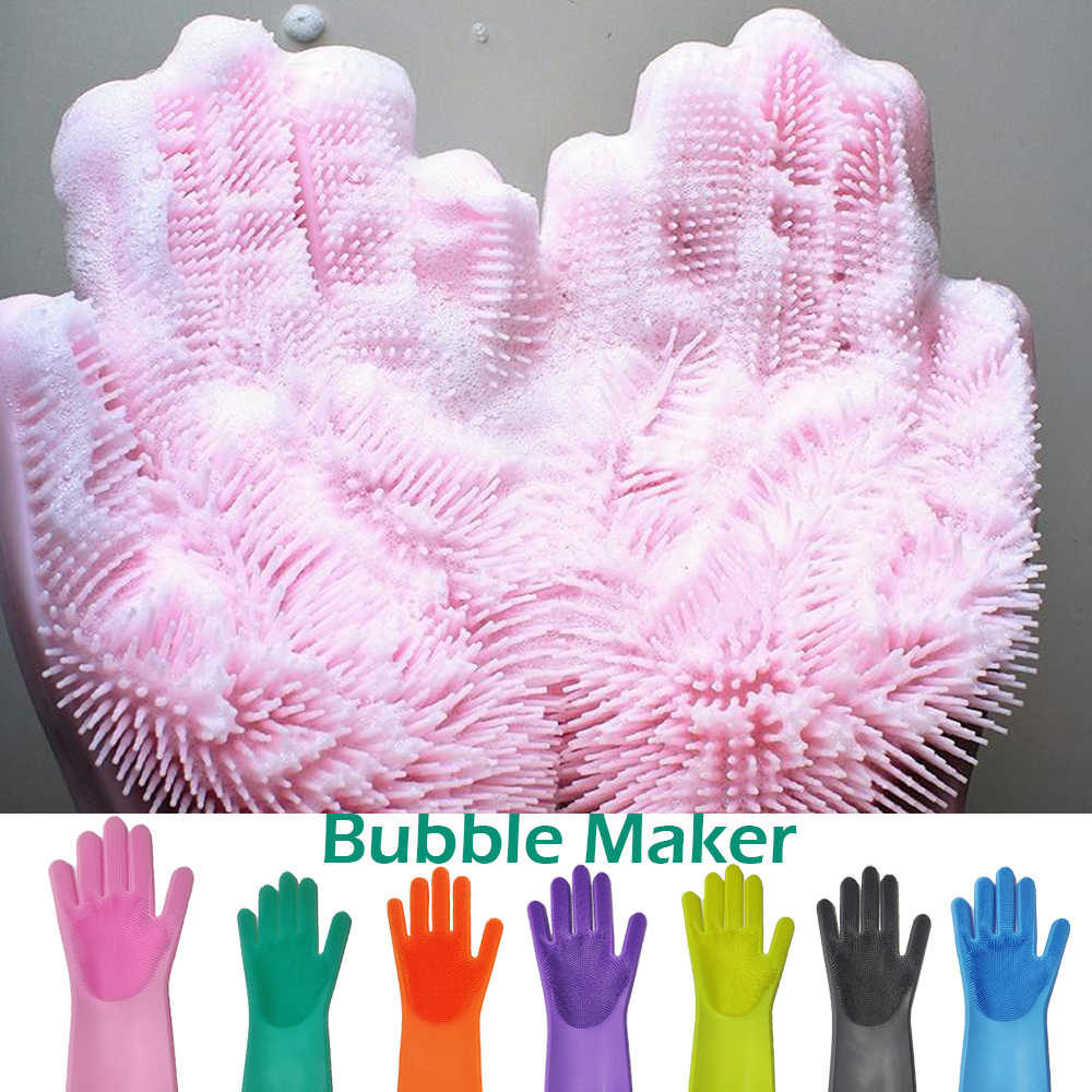 1Pcs Silicone Dishes Washing Glove with Cleaning Brush Kitchen Housekeeping Washing Glove 100% Food Grade Dishwashing Gloves