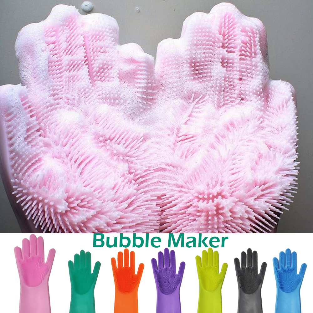 1pcs silicone dishes washing glove with scrubbers and cleaning brush for kitchen
